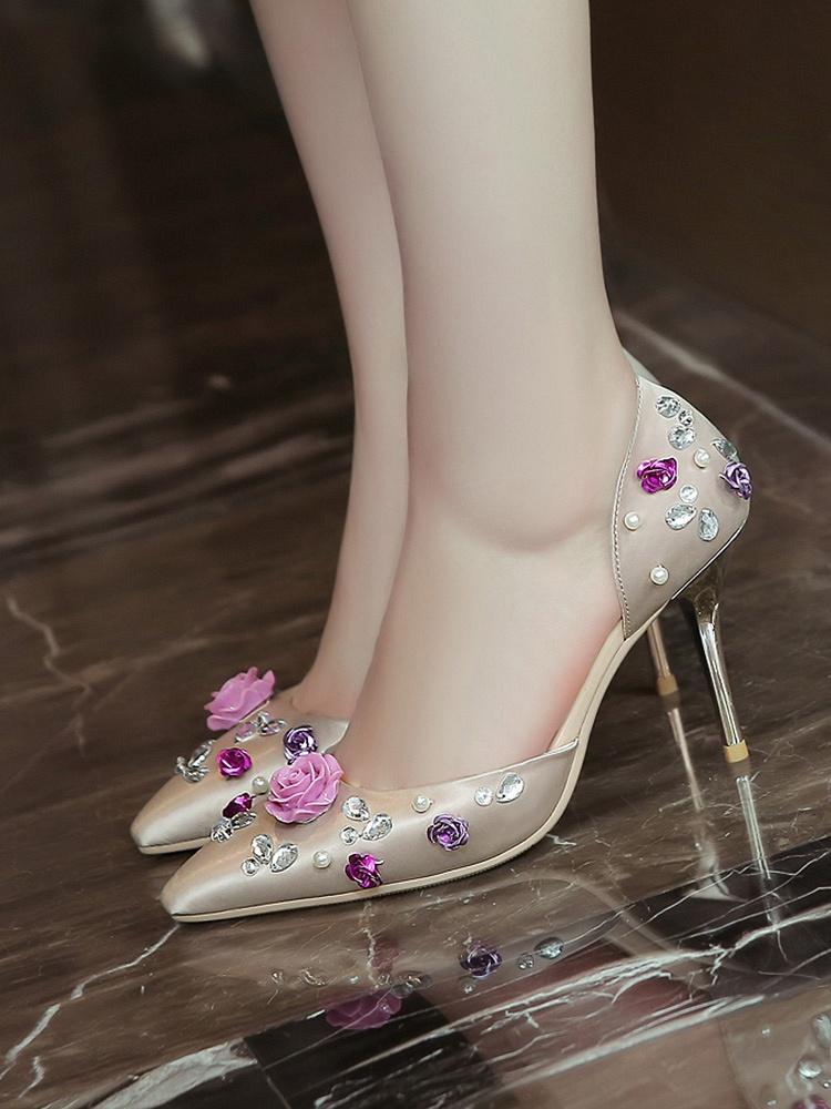 【paris】新款尖头细跟浅口高跟鞋
