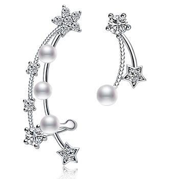 漂亮百合925银镶石贝珠不对称耳钉