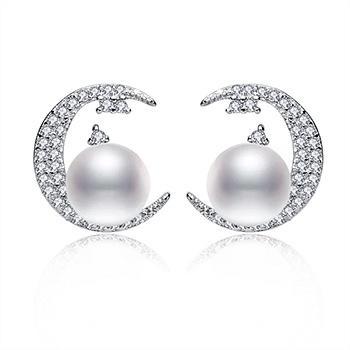漂亮百合925银镶珍珠耳钉月亮女神