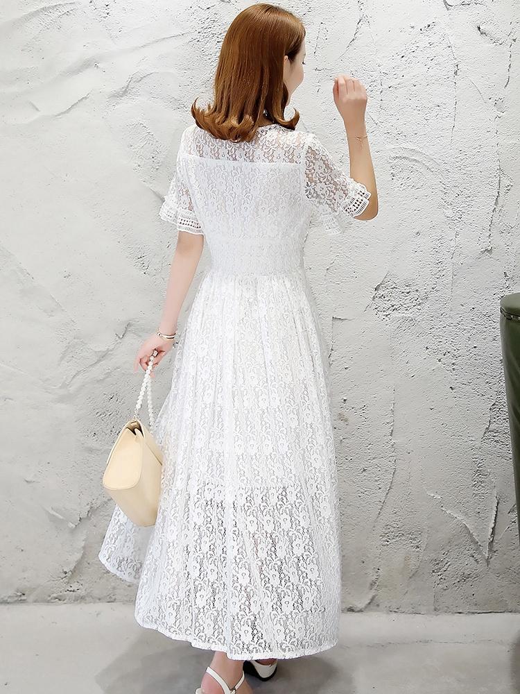 v领领子拼菱形格花边连衣裙白色