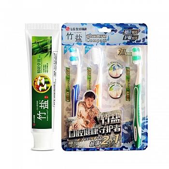 韩国•LG竹盐 精品精研卓效牙膏(清新薄荷)90g+超值前翘牙刷家庭组合装(2+1)