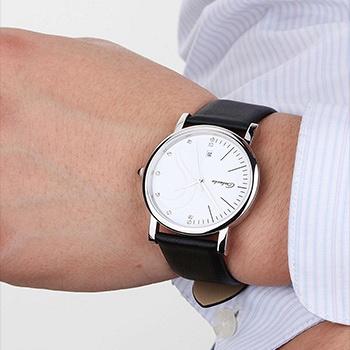中国•银壳白面男士超薄石英时尚手表