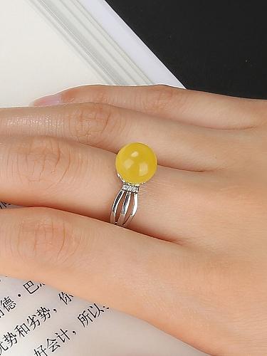 蜜蜡圆珠戒指 - 聚美优品