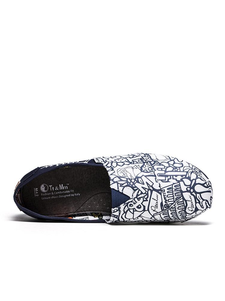 汤姆斯欧美手绘涂鸦帆布鞋深蓝