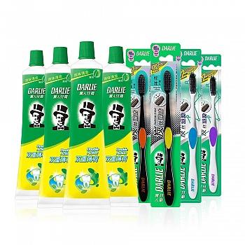 黑人(DARLIE)双重薄荷 牙膏 120g*4+炭丝深洁 买二送二装(4支牙刷)