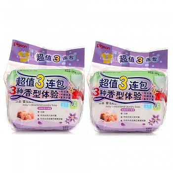 贝亲婴儿洗衣皂3连包阳光香型120g柠檬草香型120g?#19979;?#20848;香型120g(3连包*2)PL331