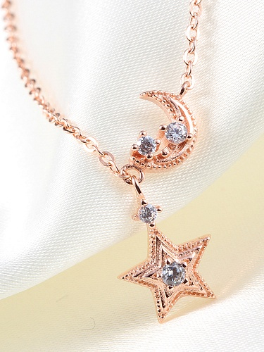 s925银星星月亮项链