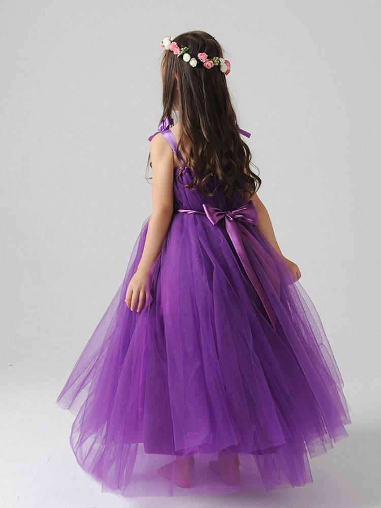 儿童吊带公主裙紫色a