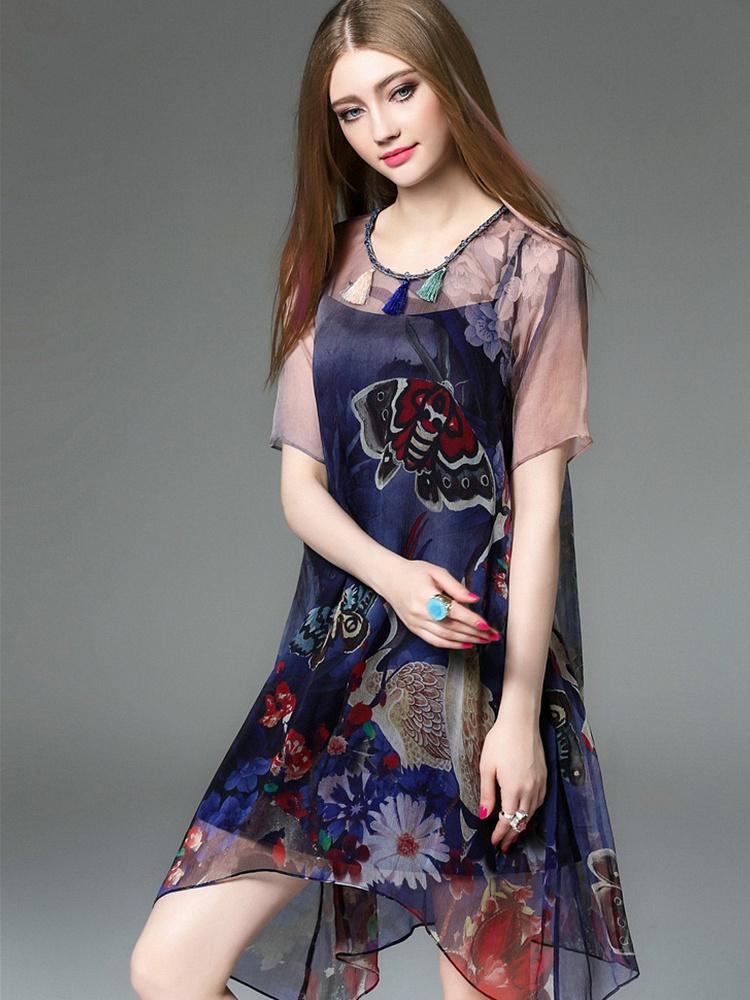 蝴蝶仙鹤印花两件套真丝连衣裙