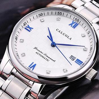 中国•卡罗莱石英钢带白面时尚商务男表