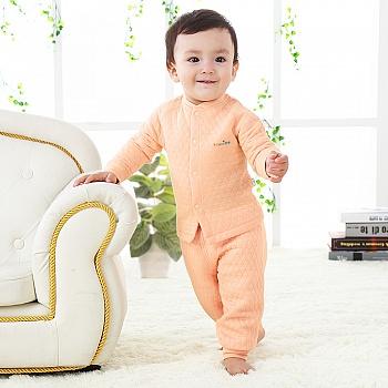 中国•优奇 婴儿宝宝前开保暖套装 橘色