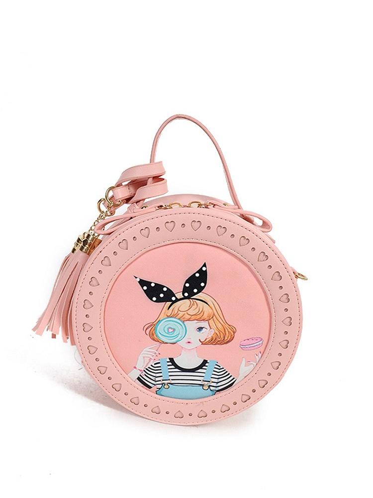 优尚可爱迷你小圆包,可爱少女印花,搭配小巧的包包造型,潮范儿十足