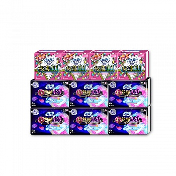 日本•苏菲SOFY 超熟睡Air气垫420夜用4片装*6包+弹力贴身极薄0.1 23cm日用8片装*4包