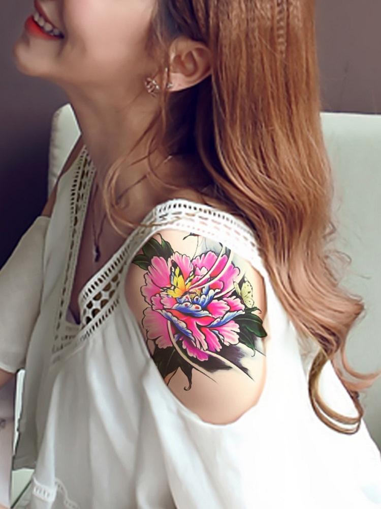 2张牡丹花蝴蝶遮疤痕纹身贴纸