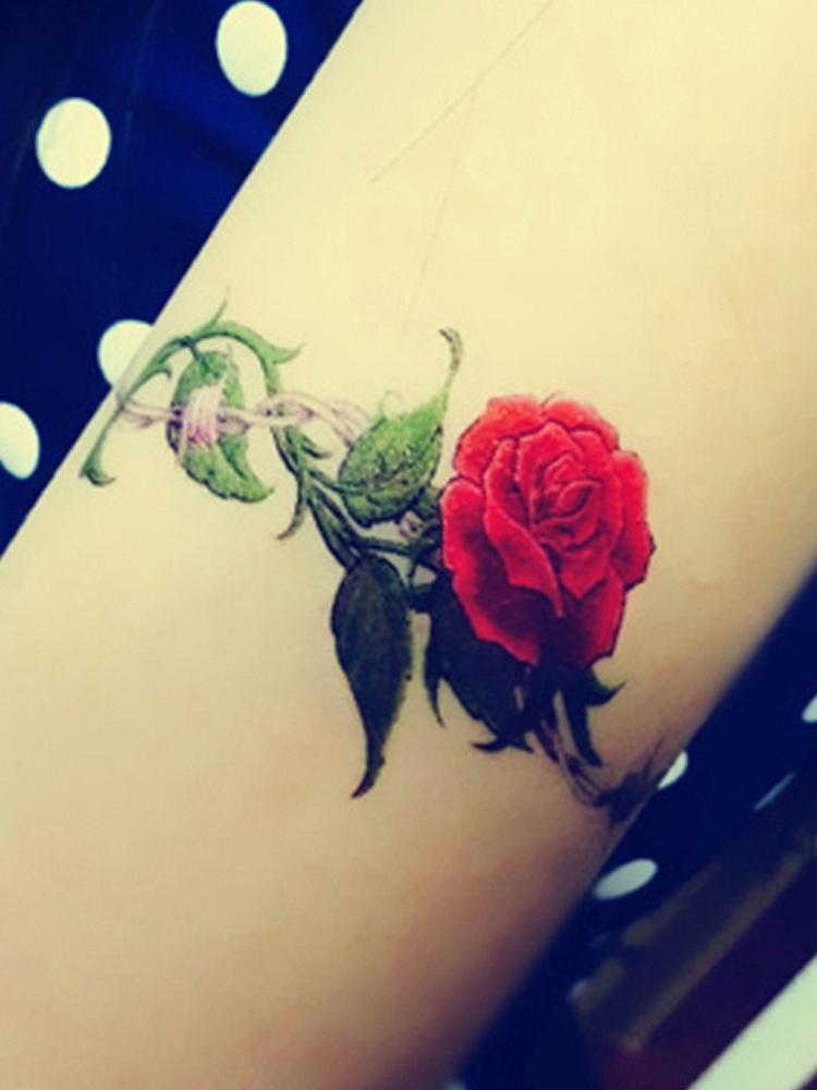 手绘玫瑰花铁丝荆条纹身贴纸