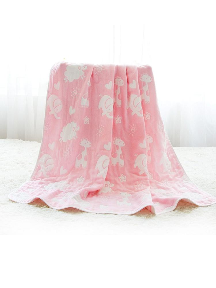 海绵泡泡六层纱布被子动物园粉