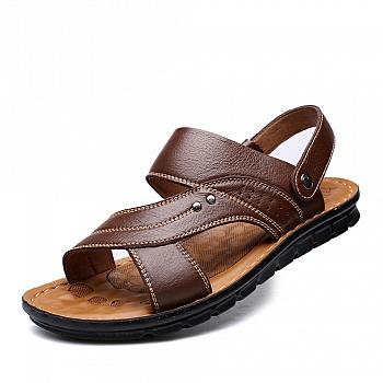 中国•夏季男士真皮休闲凉鞋 棕色