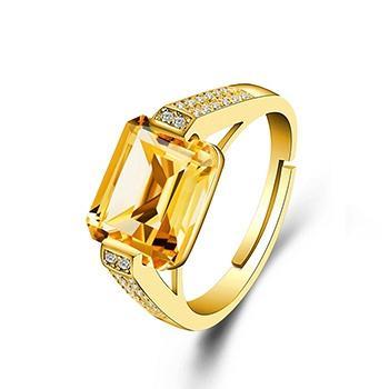 爱情水密方925银镶水晶戒指 女款