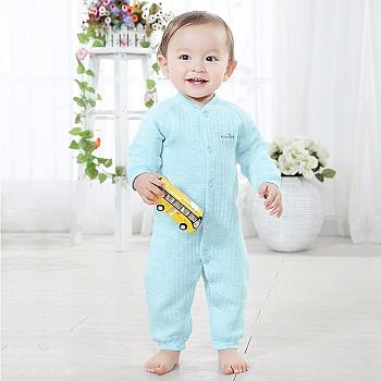 中国•优奇 婴儿彩棉前开保暖哈衣 蓝