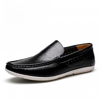 中国•男士休闲真皮英伦豆豆鞋26102黑色