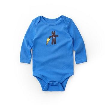 中国•minizone宝宝长袖棉三角包屁衣 蓝