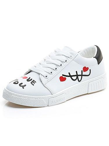 秋季手绘涂鸦皮面系带小白鞋白色