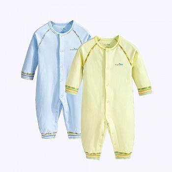 中国•优奇纯棉宝宝连体衣爬服  蓝+黄