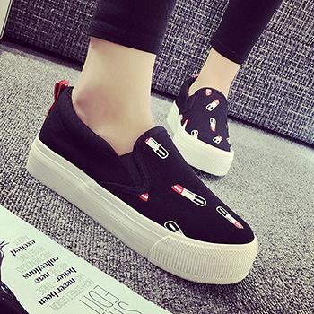 时尚口红可爱厚底乐福鞋黑色