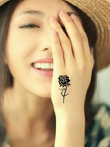 个性防水虎口8朵玫瑰花纹身贴虎口纹身贴纸*2张 性感假刺青