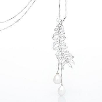 漂亮百合 925银珍珠奢华长款项链