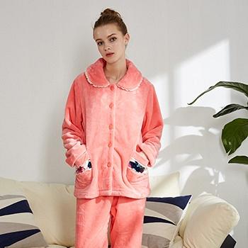 中国•芬腾冬季女珊瑚绒纯色家居服套装