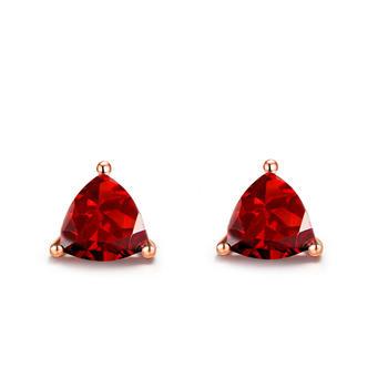 今上珠宝 18K金石榴石三角形耳钉