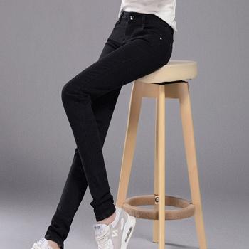 中国•牛仔裤女小脚裤中腰W1961A黑色修身