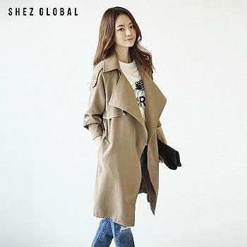 韩版SZ春新款中长款休闲天丝风衣
