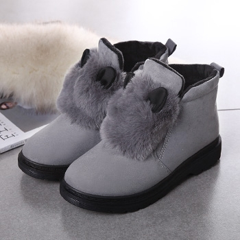 中国•冬季新款英伦风马丁靴女棉鞋灰色