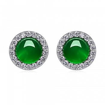 中国•925银镶绿玉髓闪耀迷人耳钉