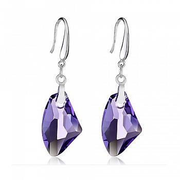 中国•S925银时尚紫色水晶耳环