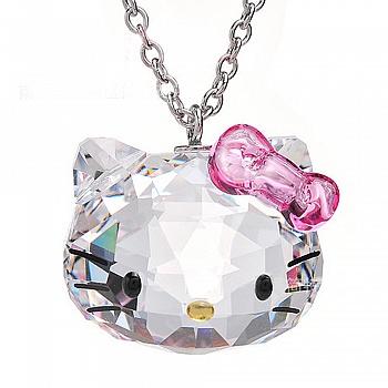 中国•925银透明水晶kt猫项链