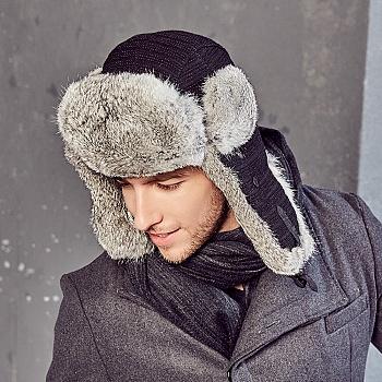 中国•kenmont男士冬季兔毛雷锋帽子2598