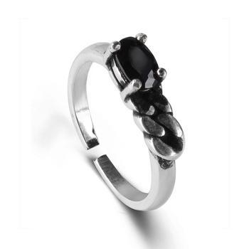 复古925银黑玛瑙不规则戒指