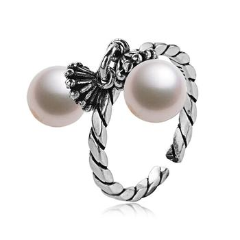 925银韩版珍珠铃铛款戒指
