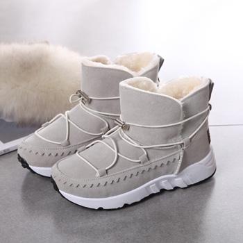 娅莱娅厚底松糕加厚棉鞋棉靴米色