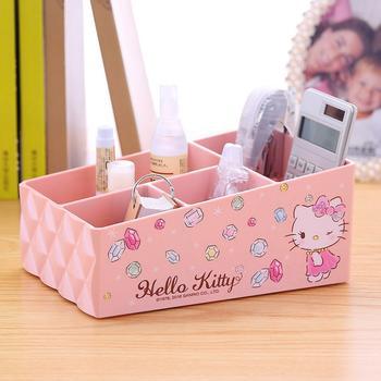HELLO KITTY钻石纹桌面收纳盒粉红色