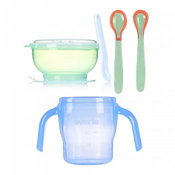 爱得利婴儿训练碗水杯餐勺套装