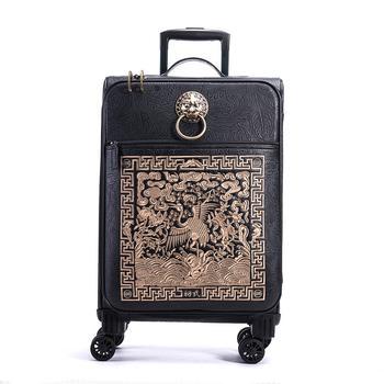 初弎中国风万向轮潮牌仙鹤刺绣20寸密码行李箱