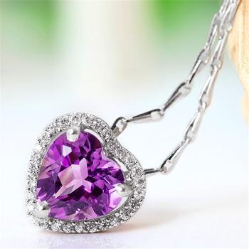 中国•E·weil925紫水晶心形项链
