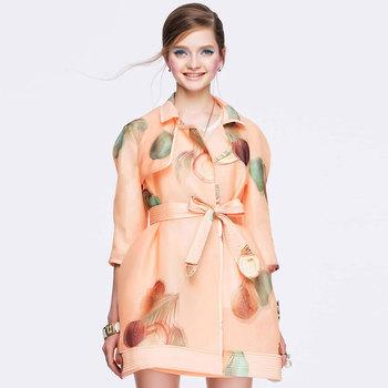 印花蝴蝶结完美修身廓型防褶风衣