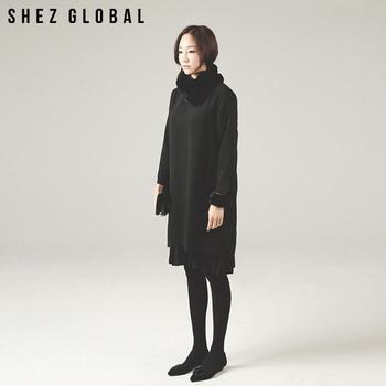 中国•韩版SZ新款宽松圆领百褶连衣裙