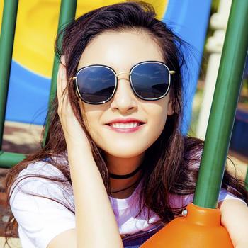 威古氏网红款高清偏光太阳镜女士圆框墨镜防晒眼镜
