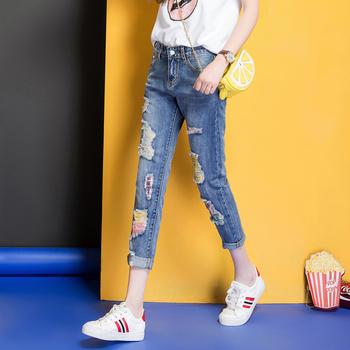 中国?休闲九分裤W7205牛仔裤时尚破